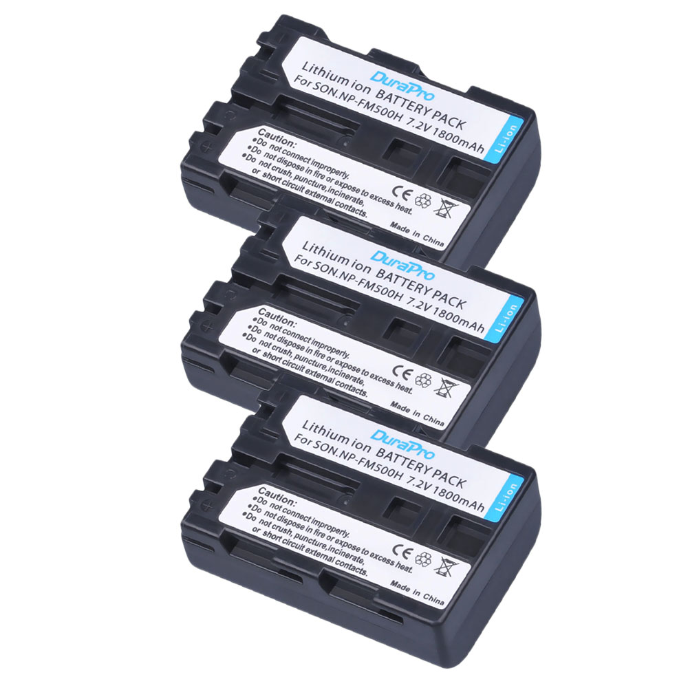 3 Pack - DuraPro NP-FM500H NP FM500H Rechargeable Camera Battery For Sony A57 A65 A77 A99 A350 A550 A580 A900