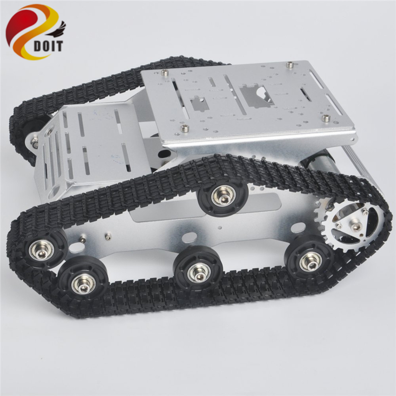 Tracked RC Robot Tank Chassis with Dual DC Motor Aluminum Alloy Frame Interface Holes For Robotic