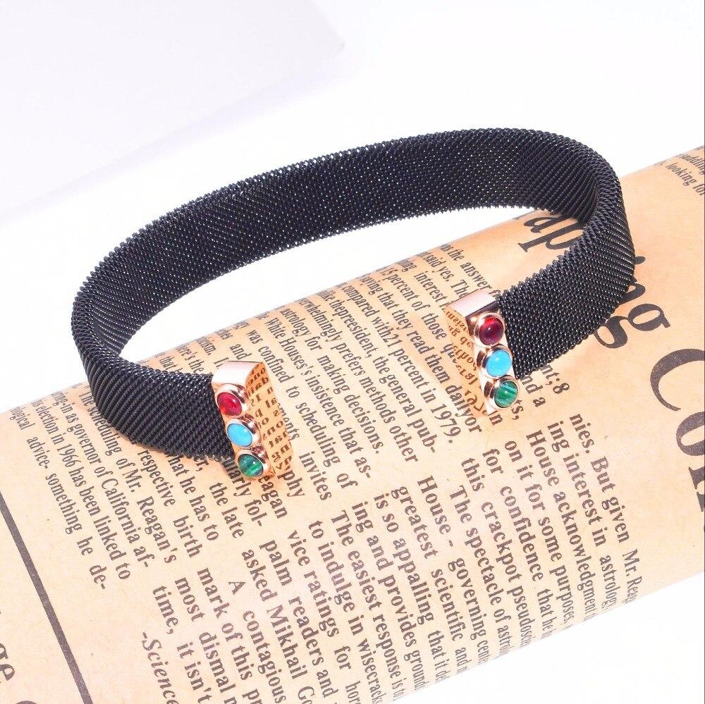 2019 Inoxydable Noir Maille Brassard ouvert bracelet avec naturel bleu rouge vert pierre Bijoux bracelet bracelets Pulsera mujer ours style