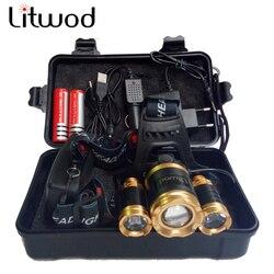 Litwod Z25 XML-T6 15000LM farol LED Farol Lâmpada de Cabeça Pesca caça iluminação Luz de bicicleta Lanterna Tocha Lanterna
