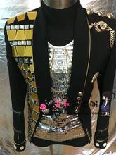 Hot New 2017 Men's clothing fashion slim DJ Mirror suit coat dance Punk the host stage Men plus size singer costumes