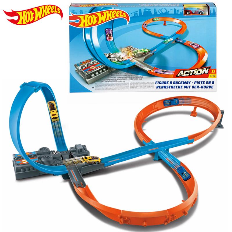 Original Hot Wheels Stereoscopic Maneuver Track Figure 8 Raceway Educational Diecast Car Toy Set Children Birthday Gift GGF92