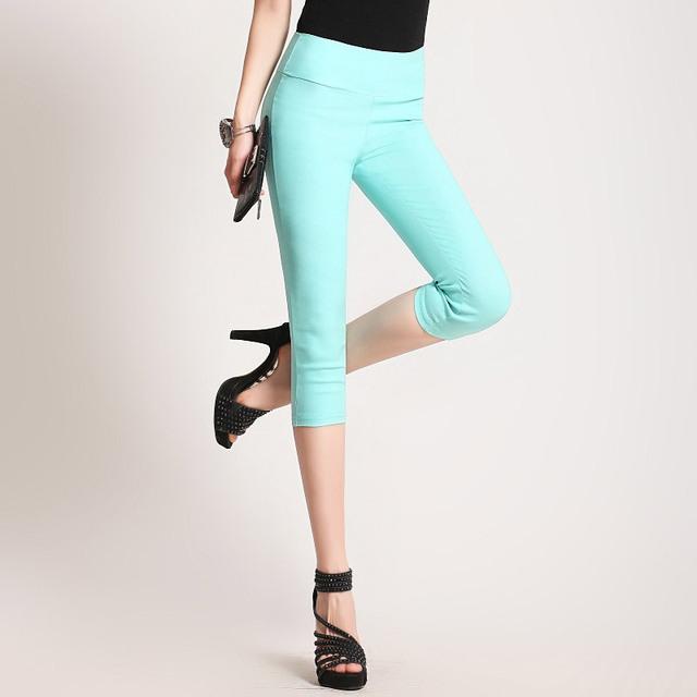 Comercio al por mayor de Las Mujeres del verano más el tamaño de Lana de Moda Los Colores Del Caramelo stretch polainas ocasionales capris de algodón delgado leggings pantalones G503