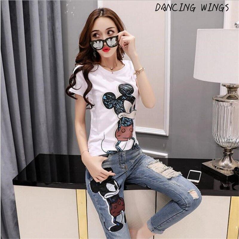 Été Mickey Mouse imprimer t-shirt à manches courtes + trou denim pantalon femmes 2 pièces ensemble décontracté
