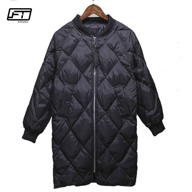 Fitaylor зима Для женщин ультра легкие пуховики 90% белая утка вниз свободный крой парки средней длины теплые зимние пальто