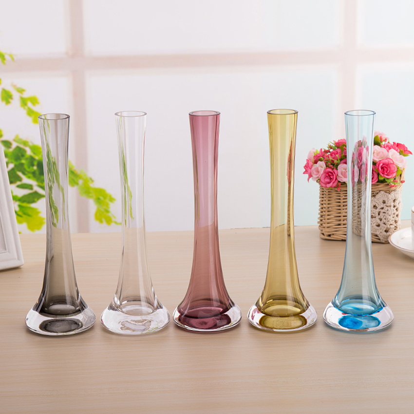 moderno minimalista hierro torre de cristal manchado florero floreros de vidrio decoracin del hogar