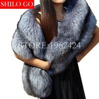 Plus size 2017 Autumn winter fashion new fashion women high quality fur silver fox fur collar wild fox fur collar scarf Pashmina