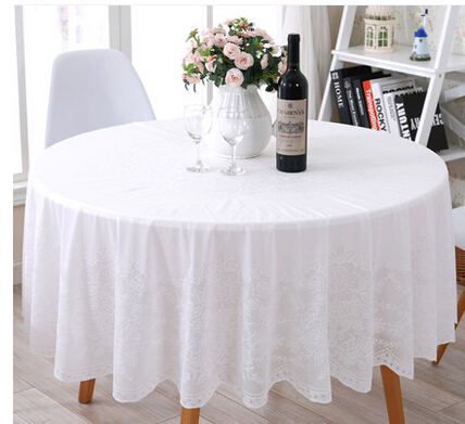 Charmant European Round Table Cloth PVC Table Cloth Waterproof And Oil Proof Plastic  Tablecloth White Table Cloth