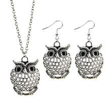 High Quality Hot Cool Charm Vintage Tibetan Silver Color Hollow Owl Animal Earrings Pendant Necklace Jewelry Set for Women(China)