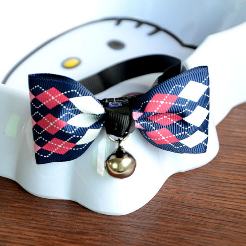 No Sew Dog Bow Tie Collar Slide Collars Cat Pendant Bell Pet Large Breed Ties