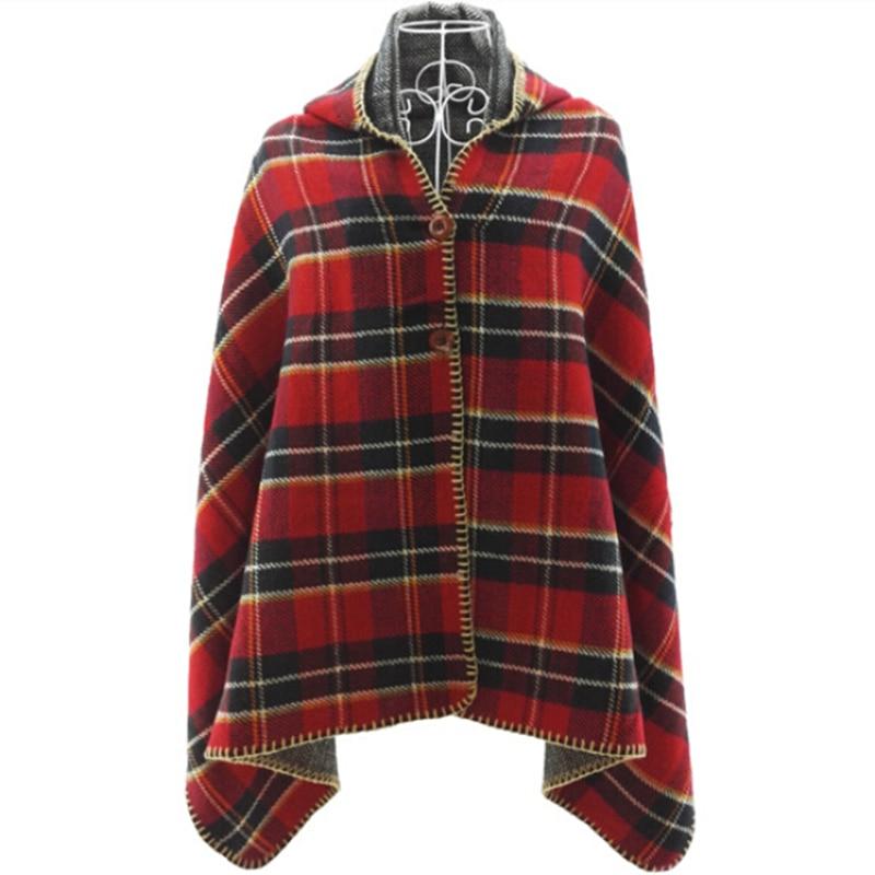 Fashion Winter font b Tartan b font Hooded Scarf Women Warm Shawls Blanket Plaid Scarf Hat