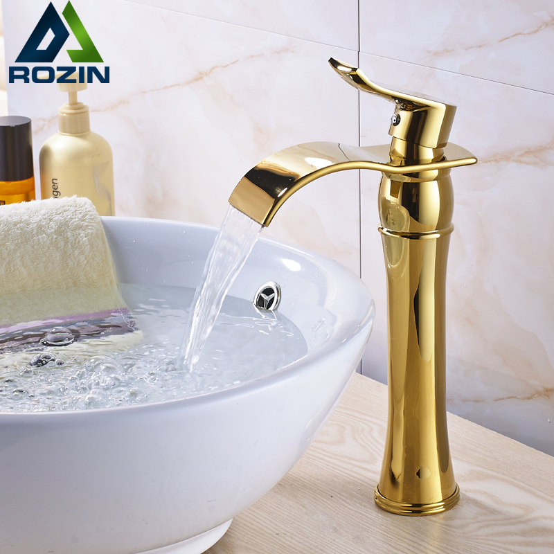 Modern Golden Countertop Waterfall Spout Basin Water Taps Single Handle Hot and Cold Mixer Basin Faucet dropshipping golden countertop basin faucet one handle single hole brass vanity sink mixer taps with hot and cold water