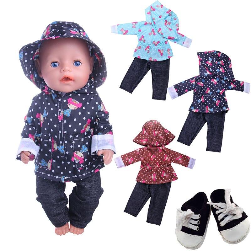 Modèle mignon imperméable décontracté 3 pièces = chapeau + manteau + pantalon Fit 18 pouces américain & 43 CM bébé poupée vêtements accessoires, jouets de fille, génération