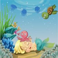 침낭 아기 인어 배경 사진 작은 거북이 문어 바다 아이 생일 파티 만화 사진 배경
