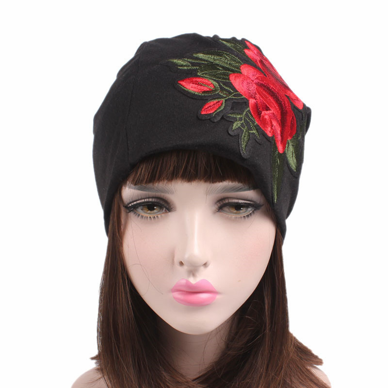 DoreenBow New Fashion Women Skullies Beanies Embroidery Rose Flower Hat Autumn Winter Casual Beanies Hats Adult Female Black skullies