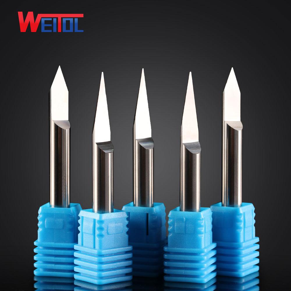 Weitol Metal engraving tool N 1 pcs/Lot  6mm V Shape F Bottom Carbide PCB Engraving Bits CNC Router Tool 10 degree 0.1mm
