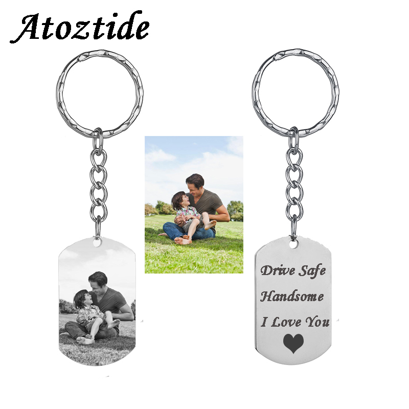 Atoztide Customized Stainless Steel Heart Keychain Personalized Silver Color Dag Tag Key Chain Engraving Words Jewelry Gift