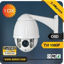 High quality 10X Zoom 1080P Waterproof IP66 Mini TVI PTZ Camera 2MP IR Security CCTV Dome Camera 1080P TVI  night vesion
