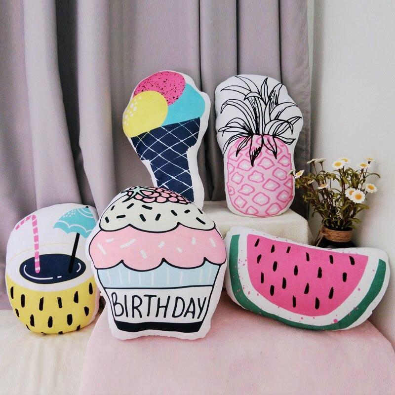 watermeloen plush pillow pineapple cake ice cream throw pillow&cushion summer series pillow home sofa decor kids toy girls gift ...