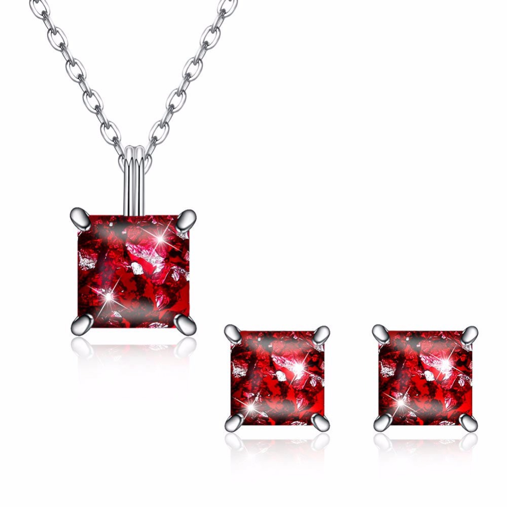 Hot 925 Sterling Silver Necklace Pendant Jewelry For Women Luxurious Big Cz Crystal Stone Earring+Necklace Love Accessories giftHot 925 Sterling Silver Necklace Pendant Jewelry For Women Luxurious Big Cz Crystal Stone Earring+Necklace Love Accessories gift