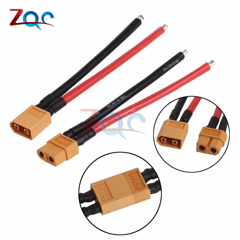 2PCS of XT60 Battery Male Connector Female Plug with Silicon 14 AWG Wire xt60 male to 2 xt60 female connecting wire black red 5 pcs