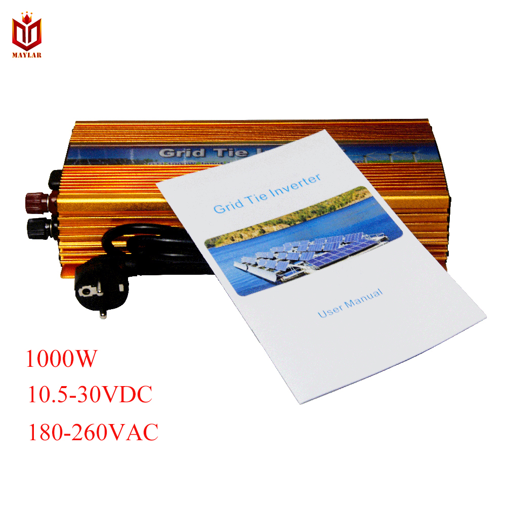 MAYLAR@ 1000W PV On Grid Tie Inverter, Input 10.5-30VDC,Output 190-260VAC.50hz/60hz, For Solar Home PV Power Energy System new 3color changing led bulb headlight foglight h1 h3 h4 h7 h8 h9 h11 9005 9006 9012 880 881 3000k yellow 4300k warm 6000k white