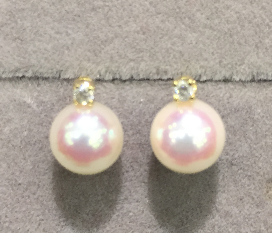 6-7MM Natural sea water pearl stud earring 18K gold diamond 1 style is eaqual 2 styles double use akoya pearl earrings faux pearl double stud earrings