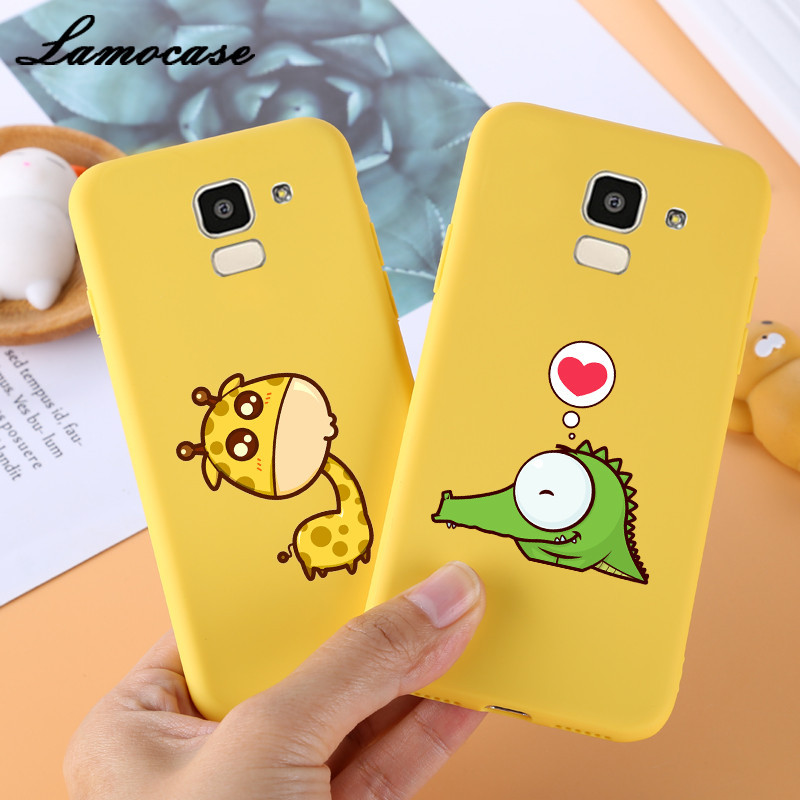Lamocase Cute Giraffe Kitten <font><b>Case</b></font> For <font><b>Samsung</b></font> <font><b>Galaxy</b></font> J6 J600 J4 J8 A6 <font><b>A8</b></font> Plus 2018 A3 A5 A7 2017 Lovely Letter Matte <font><b>Phone</b></font> Cover image