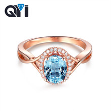 QYI Luxury Natural Sky Blue Topaz Rings Solid 925 Sterling Silver Rose gold 2 ct Oval Cut Gemstone Ring Women Wedding Best Gift