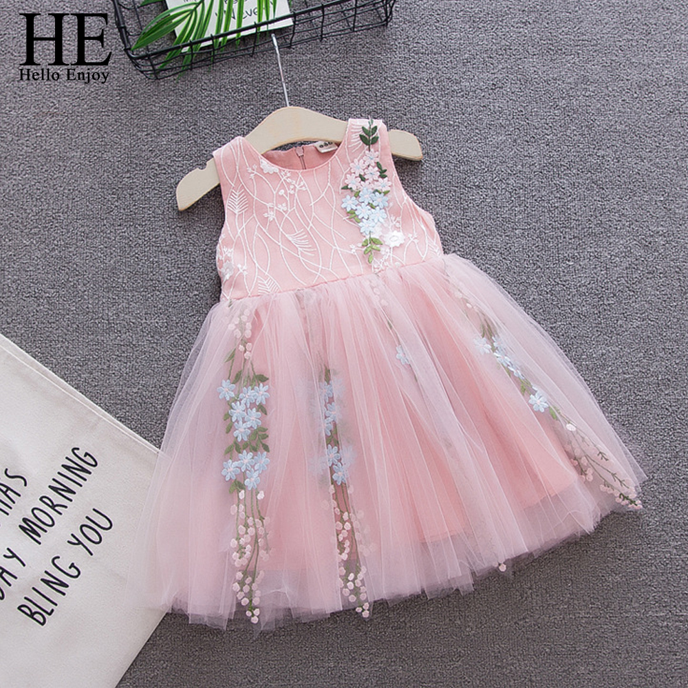 HE Hello Enjoy Baby Girl Wedding Dress Baptism Sleeveless Embroidery Flowers Bow Princess Party Dress 1st Birthday Outfits