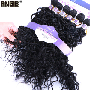 Image 1 - Синтетические вьющиеся волосы ANGIE, 6 шт./лот, пучки волос 16 20 дюймов, 210 г, двойные синтетические волосы для наращивания