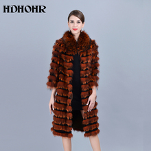 HDHOHR 2019 New 100% Real Silver Fox Fur Coat Winter High Quality Jacket Women 100cm Long Colorful Genuine