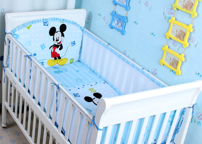 Promotion! 5PCS Mesh Mickey Mouse Baby bedding Set kit baby bed Bumpers baby Crib 100% cotton Bed Set,include(4bumpers+sheet)