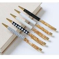 100PCS סט באיכות גבוהה כדורי עט יוקרה 1.0MM ציפורן זהב כדור עט לוגו מותאם אישית חידוש משרד אספקת caneta