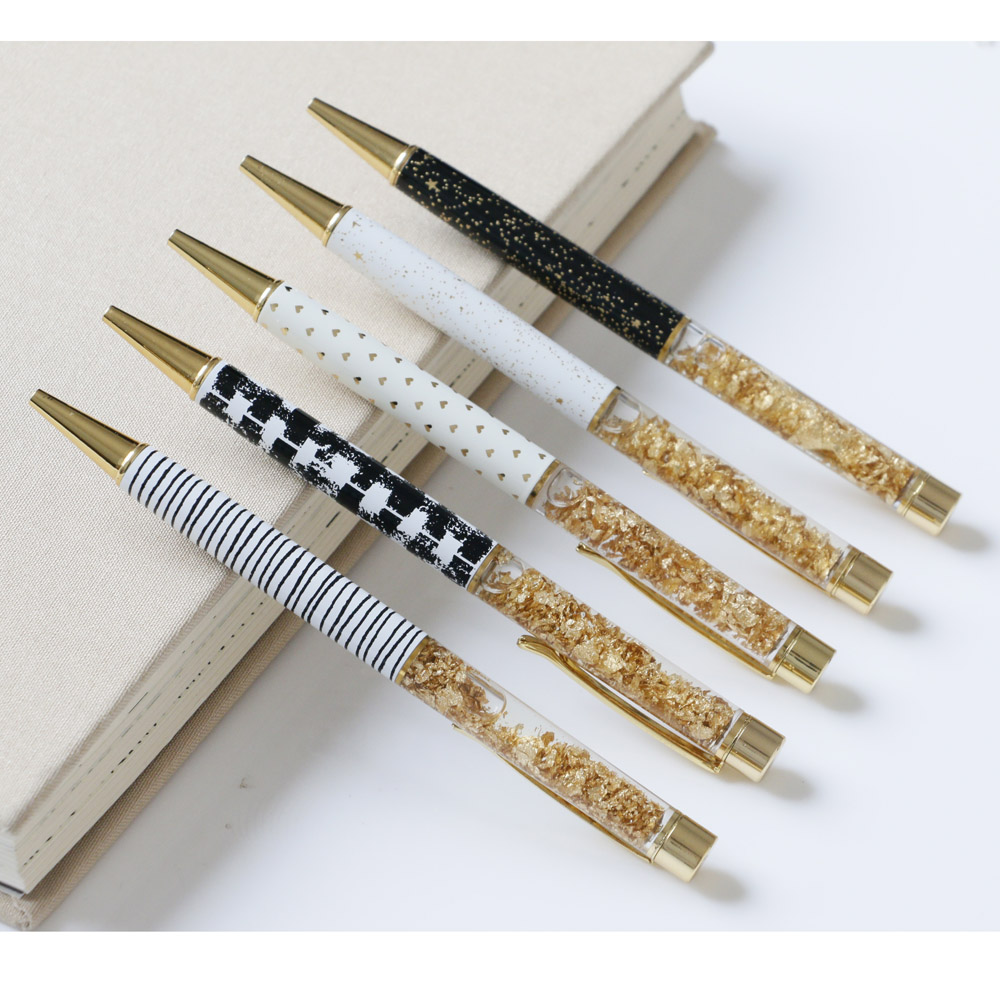 100PCS Set High Quality Ballpoint Pen Luxury 1.0MM Nib Gold Ball Pen Custom Logo Novelty Office Supplies Writing Caneta