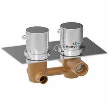 Твердый латунный скрытая термостатическая душ клапан смесителя круглый 2 набрать 2 разъём(ов), Регулировать смешивания температура воды