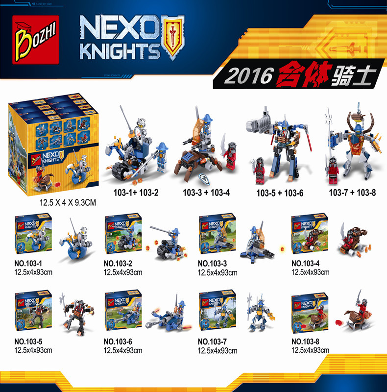 8pcs/sets 2016 Bozhi103 Super heroes New NEXO Combination Knights Building Blocks Toys Gift Minifigures  Compatible With Lego