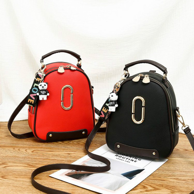 Backpack Female Bagpack Letter Litchi Back Pack Women's Bags