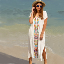2018 Cotton embroidered Pareo Beach Cover Up Women Sexy slit long dress Swimsuit Swimwear Bathing Suits Summer beach wear