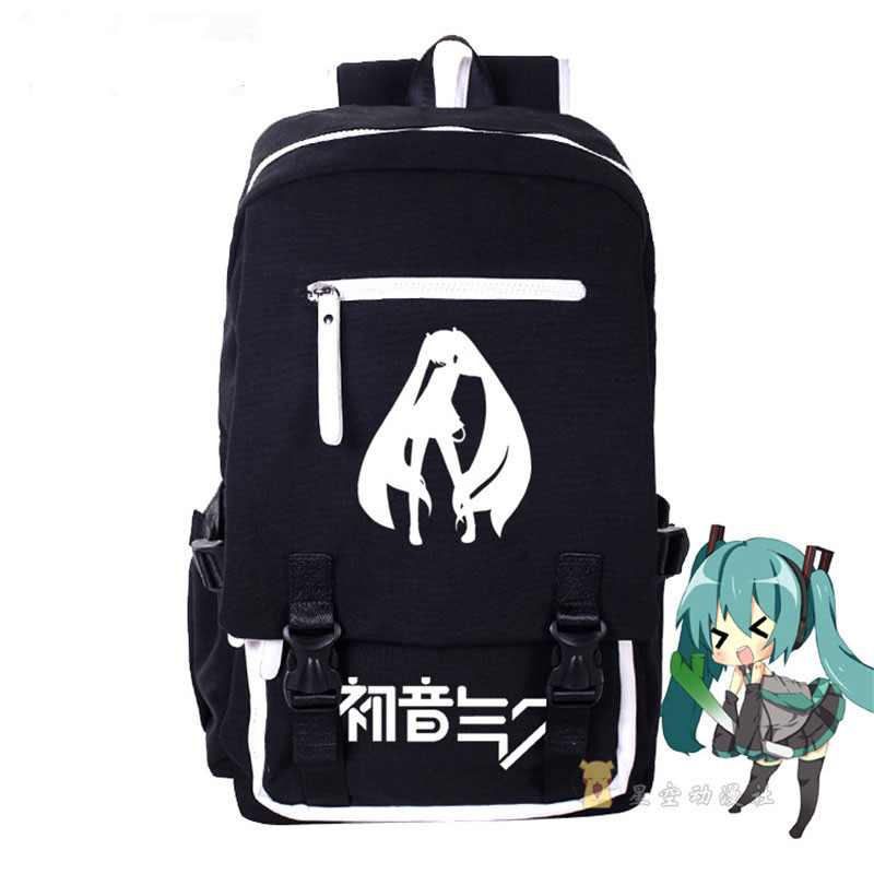 цена на Fashion High Quality VOCALOID Hatsune Miku Canvas Backpack Anime Women Grils Boys Cosplay Laptop School Bag