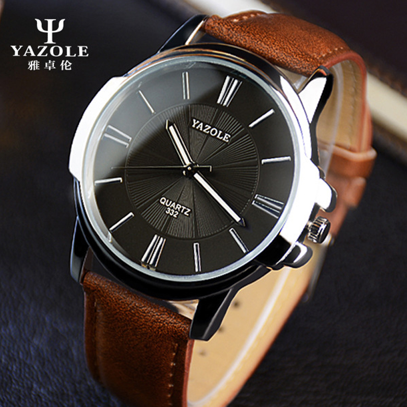 2016 yazole quartz watch men watches top luxury brand male wristwatch leather business quartz for Celebrity watch brand male