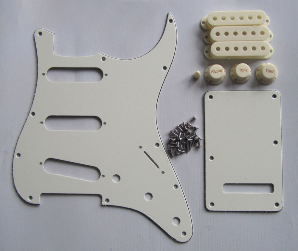 Parchment/Ivory ST SSS Pickguard Back Plate w/ Pickup Covers Knobs Tip  st pickguard back plate clear w chrome pickup covers knobs and tip