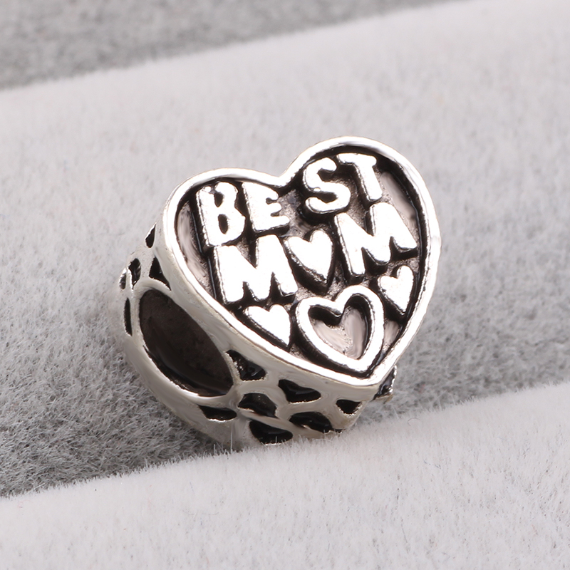 dodocharms Christmas Gift 1pc Best Mom Charm Bead Fits European Pandora Charm Bracelets Mothers Day Gift