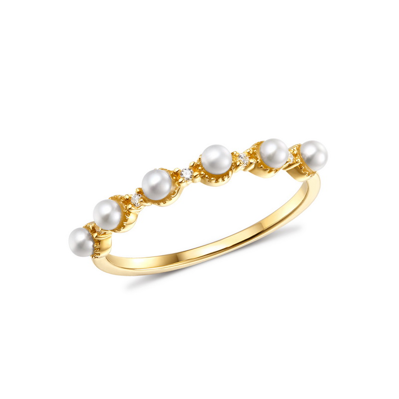 JXXGS Solid 14K Certified Round Freshwater Pearl Engagement Women Classic Fine Jewelry Ring With Zircon Trendy Fashion Gift