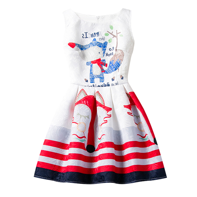 Trendy Baby Girls Fox Floral Print Dress Teenage Girl Party Wear Children's Clothing Princess Leisure Costume For Kids Clothes childrendlor baby brocade floral print