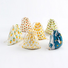 Little Fruit Cotton Linen Drawstring Bag Tea Candy Festival Gift Packaging Bag Women Home Storage Banana Watermelon Kiwi Bags