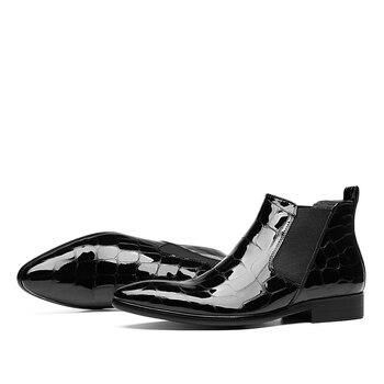 Bottes En Cuir Rouge | Mode Noir/vin Rouge Crocodile Grain Chelsea Bottes Hommes Robe Bottes En Cuir Verni Chaussures De Mariage Hommes Bottines