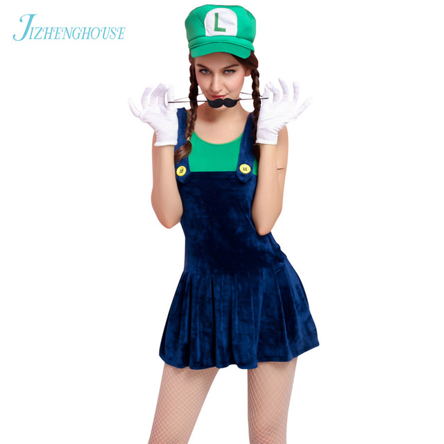 jizhenghouse funy cosplay costume super mario luigi brothers fancy dress party costume cute womens halloween costume