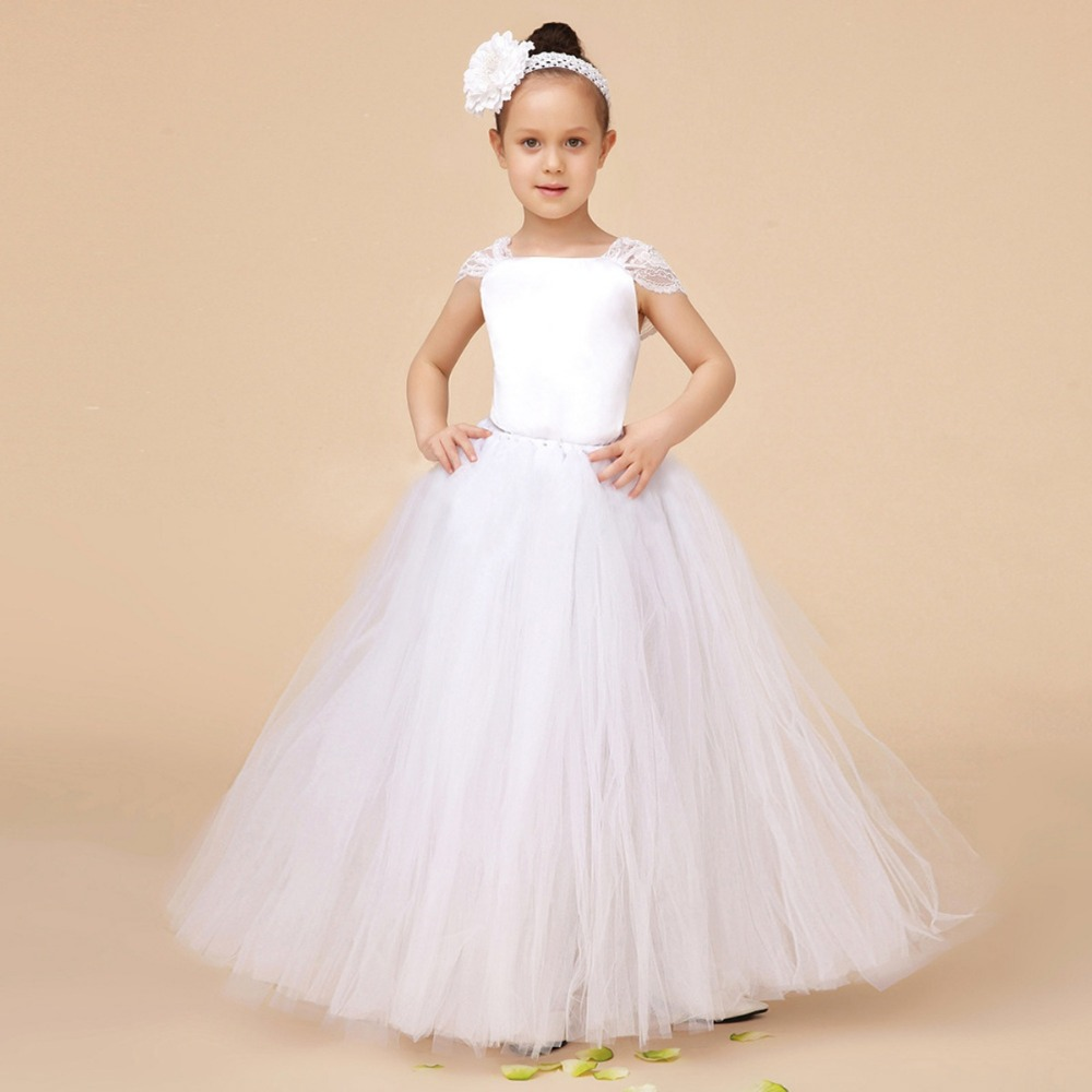 White Kids Children Long Ball Gown Flower Girls Baby Girls Princess Tutu Dress Wedding Party Pageant Dresses Vestidos S2837