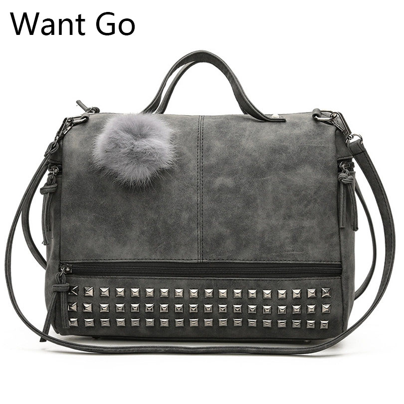 Want Go Fashion Women High Capacity Rivet Tote Handbag Moto Biker Style Girls Shoulder Bag Solid Color Casual Lady Shoulder Bags